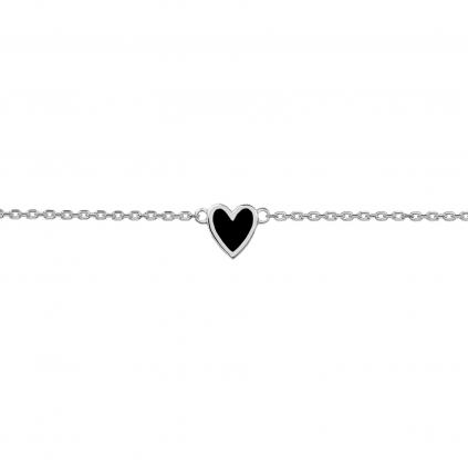 Браслет серебряный Сердце с эмалью Youko черное