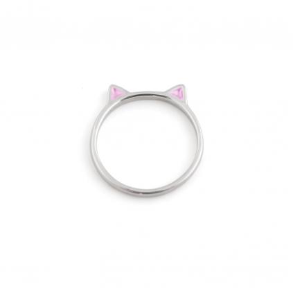 Кольцо серебряное Кошка с...