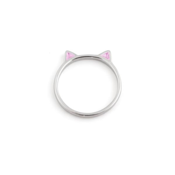 Кольцо серебряное Кошка с эмалью...