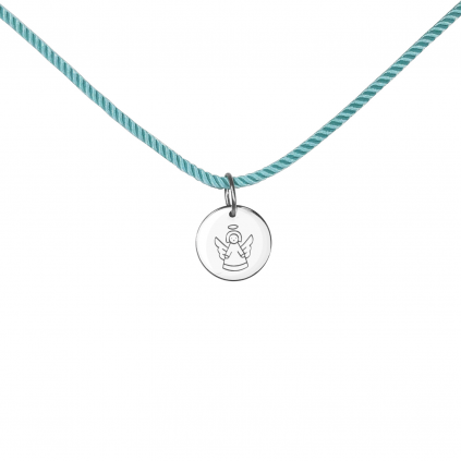 Подвеска серебряная Монетка с Ангелом Youko шнур голубого цвета