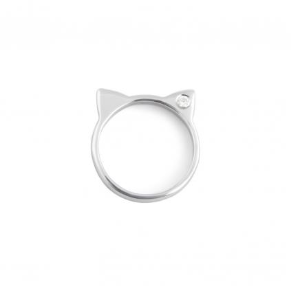 Серебряное кольцо кошка с камнем циркона