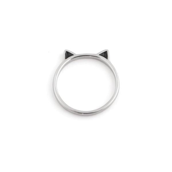Кольцо серебряное Кошка Youko с эмалью