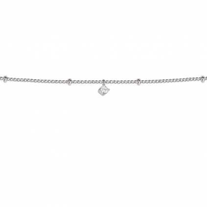 Браслет серебряный Точки с цирконом на панцирной цепочке Youko