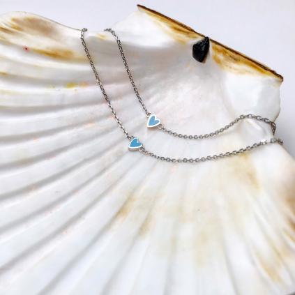 Браслет серебряный Сердце Маленькое Youko эмаль голубая