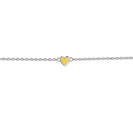 Браслет серебряный Сердце Маленькое Youko эмаль желтая