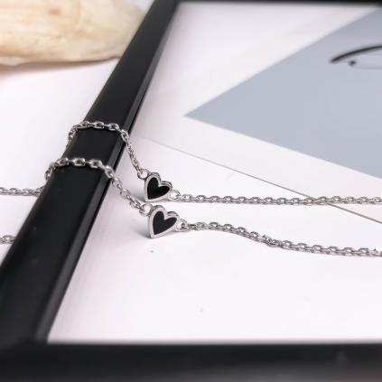 Браслет серебряный Сердце Маленькое Youko эмаль черная